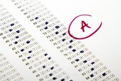 Resultados de la prueba en escuela Foto de archivo libre de regalías