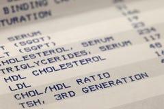 Resultados del cribado de la sangre y del colesterol Fotos de archivo libres de regalías