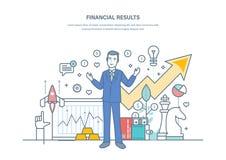 Resultados financeiros, estratégias empresariais bem sucedidas, dinâmica aumentada das vendas, prosperidade comercial ilustração do vetor