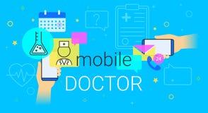 Resultados móveis do doutor e de pesquisa da medicina na ilustração do conceito do smartphone Fotografia de Stock
