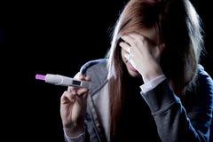 Resultat för skrämd och chockad hållande graviditetstest för ung kvinna som positivt ser olyckligt Royaltyfri Foto