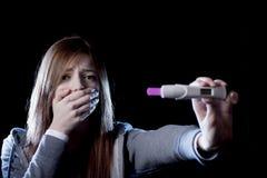 Resultat för skrämd och chockad hållande graviditetstest för ung kvinna som positivt ser olyckligt Arkivbilder