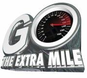 Resultaten för avståndet för försök för den extra milhastighetsmätaren går de extra Arkivbild
