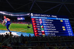 Resultaten van mensen` s plotseling gezet def. bij Rio2016 Stock Fotografie
