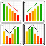 Results. Graphs going up and down (concept for growth or slump Stock Images