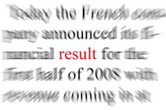 Results. Abstract blurry image of the word Result Stock Image
