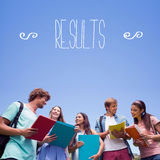 Results against students standing and chatting together Royalty Free Stock Photos