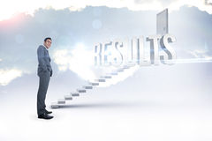 Results against white steps leading to closed door Royalty Free Stock Images