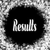 RESULTS on black background with different white stars frame. Stock Photography