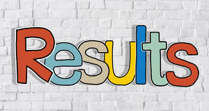 Results and Brick Wall in the Background Stock Images