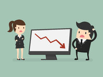 Results chart. Business people looking at a bad results chart Royalty Free Stock Photography