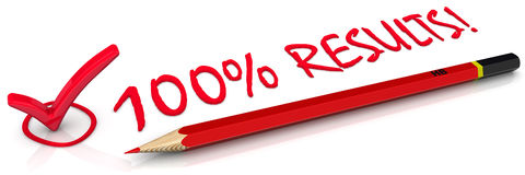 100% results! Concept. The mark, pencil and inscription 100 percent result on a white surface Royalty Free Stock Photo