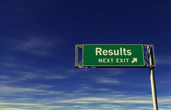 Results Freeway Exit Sign. Super high resolution 3D render of freeway sign, next exit... Results Royalty Free Stock Photos