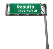 Results Freeway Exit Sign. Super high resolution 3D render of freeway sign, next exit... Results Stock Photo