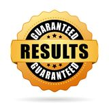 Results guaranteed gold vector seal. Icon stock illustration