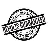 Results Guaranteed rubber stamp. Grunge design with dust scratches. Effects can be easily removed for a clean, crisp look. Color is easily changed Royalty Free Stock Photography
