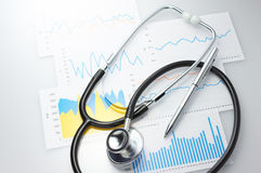 Results of a medical and stethoscope. Stock Photography