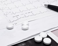 Results of medical tests. A pills over a medical report form Royalty Free Stock Images