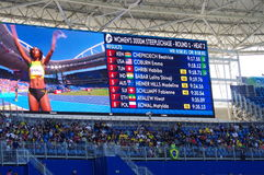 Results with names of 3000m women`s steeplechase Heat 2 at Rio2016. Screen with names of qualified athletes after 3000m women`s steeplechase competition of heat Stock Photo