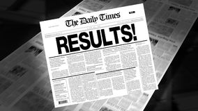 Results! - Newspaper Headline (Reveal + Loops) stock video footage