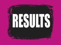 Results banner. Results pink and black banner Stock Image