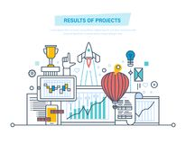 Results of projects. Planning, project management. Risk analysis, strategy, implementation. Results of projects. Planning, project management, time control Royalty Free Stock Photo