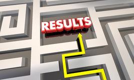 Results Reach End Goal Maze Outcome. 3d Illustration Royalty Free Stock Images