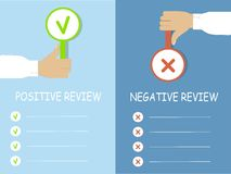 Results of the review typography banner, hands with a cross and a tick, vector Royalty Free Stock Image
