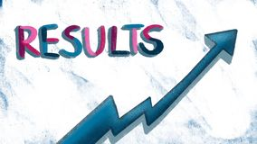 Results text and arrow graph illustration stock illustration