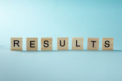 Results word on blue. Succeed business success, be a winner in  elections, pop poll or sports test,  report, election Stock Photos
