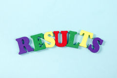 Results word on blue. Succeed business success, be a winner in  elections, pop poll or sports test,  report, election. Results word on blue. Succeed business Stock Photography