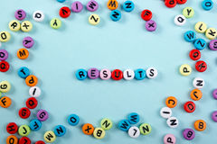Results word on blue. Succeed business success, be a winner in  elections, pop poll or sports test,  report, election Stock Photography