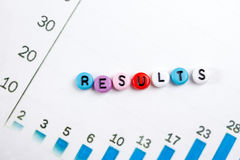 Results word on blue. Succeed business success, be a winner in  elections, pop poll or sports test,  report, election. Results word on blue. Succeed business Stock Images