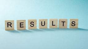 Results word on blue. Succeed business success, be a winner in  elections, pop poll or sports test,  report, election Stock Images