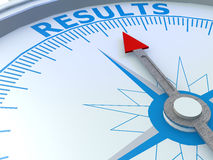 Results word on compass isolated Stock Photo
