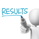 Results word written by 3d man. Over white Stock Images