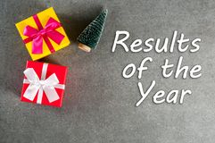 Results of the year. Year review concept with christmas gifts. Time to summarize and plan goals for the next year.  royalty free stock photos