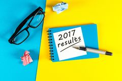 2017 results. Year review concept. Time to summarize and plan goals for the next year. royalty free stock photo