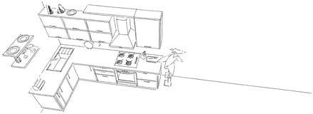 Resuma el dibujo de bosquejo del interior contemporáneo de la cocina en la opinión superior del fondo largo Foto de archivo