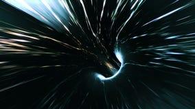 Resuma el fondo colocado con la animación del vuelo en túnel de la ciencia ficción con las luces fantásticas almacen de video