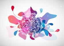Resuma el fondo coloreado de la flor con los círculos y la mandala ilustración del vector