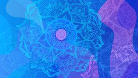 Resuma el fondo coloreado de la flor con los círculos y la mandala stock de ilustración