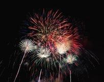 Resuma el fondo coloreado del fuego artificial usado por el Año Nuevo f de la capa Fotos de archivo