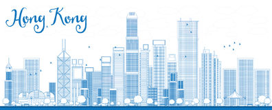 Resuma el horizonte de Hong Kong con los rascacielos y el taxi azules