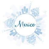 Resuma el horizonte de México con las señales azules y copie el espacio ilustración del vector