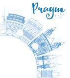 Resuma el horizonte de Praga con las señales azules y copie el espacio stock de ilustración