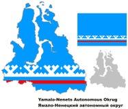 Resuma el mapa de Yamalo-Nenets Okrug autónomo con la bandera Foto de archivo