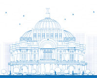 Resuma el palacio/al Palacio de Bellas Artes de las bellas arte en México C Imagen de archivo