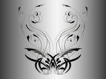 Resuma la cabeza de un gato de un ornamento floral en sombras del gris ilustración del vector