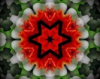 Resuma la estrella echada a un lado sacada del ejemplo 6 de la mandala 3D Fotos de archivo libres de regalías